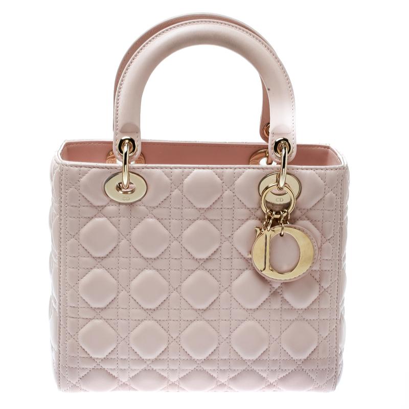 d1912bc82c Dior Light Pink Leather Medium Lady Dior Top Handle Bag