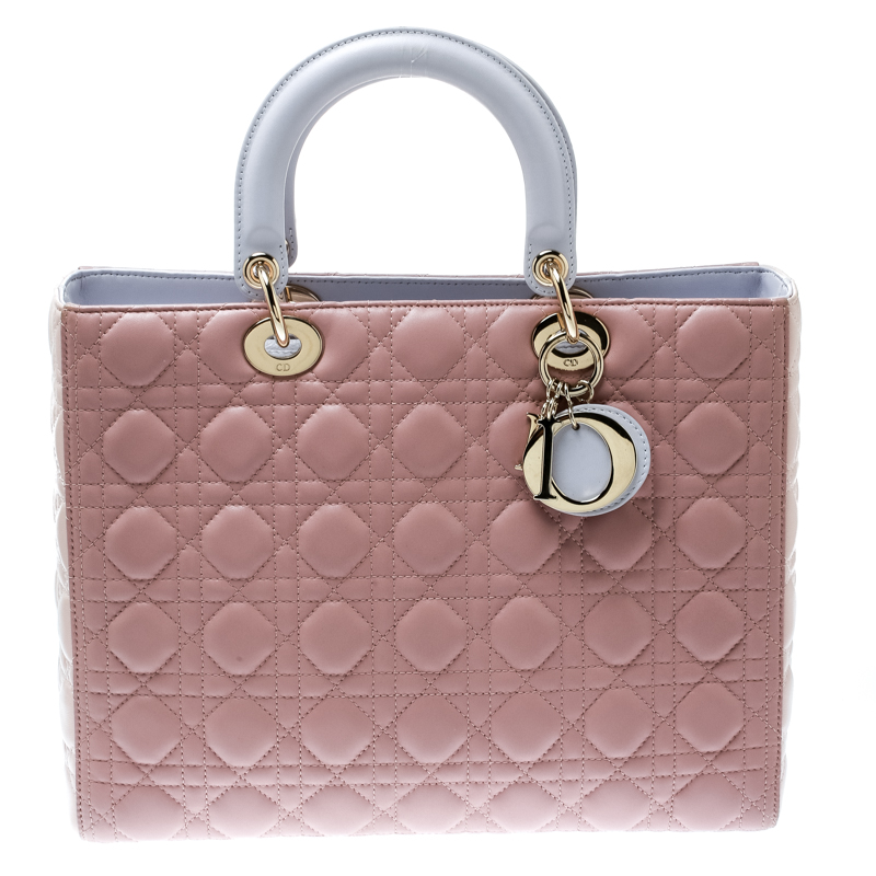 d9dc1c435 Buy Dior Peach Leather Large Lady Dior Top Handle Bag 181140 at best ...