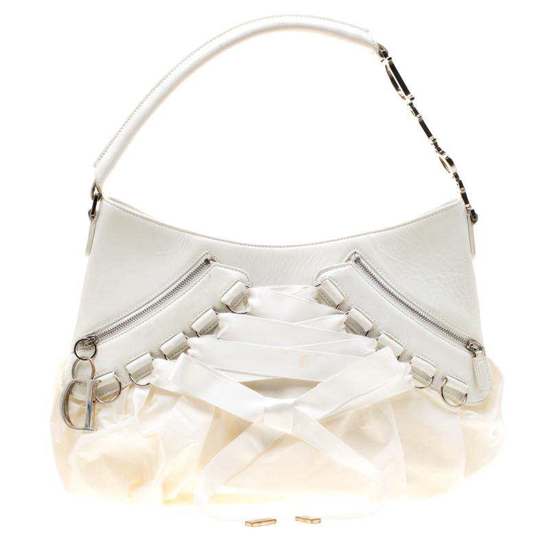 38620488 Dior White Leather and Fabric Corset Ballet Shoulder Bag