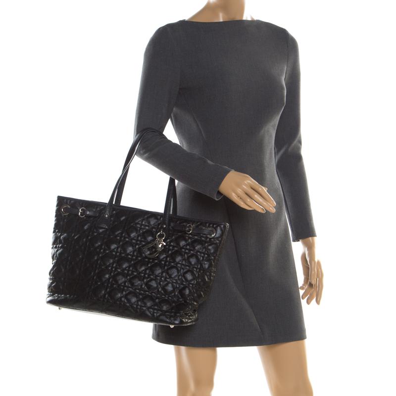 Dior Black Coated Canvas Medium Panarea Shopper Tote