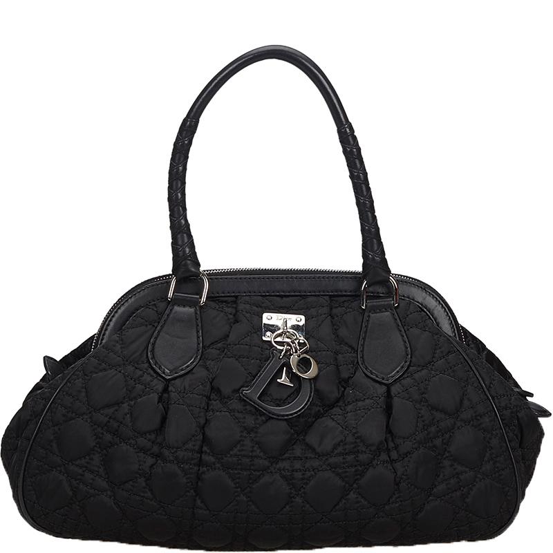 Dior Black Cannage Lovely Nylon Shoulder Bag