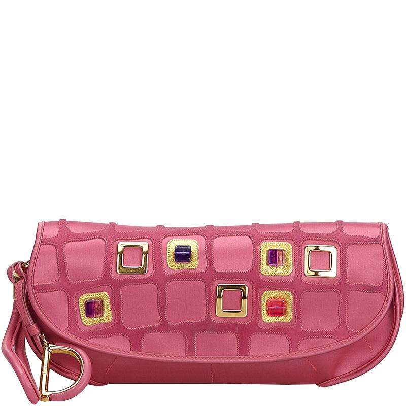 Dior Pink Satin 61 Clutch Bag