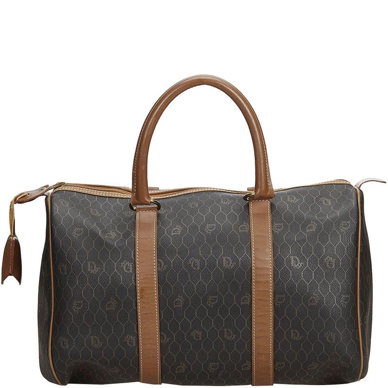 Dior Black Honeycomb Coated Canvas Duffle Bag