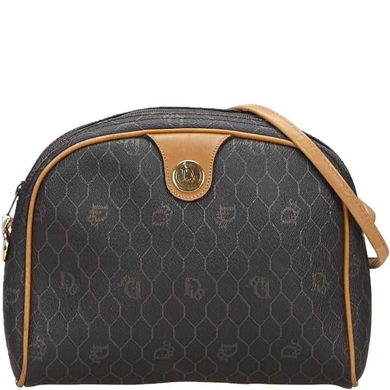 Dior Brown Honeycomb Coated Canvas Crossbody Bag