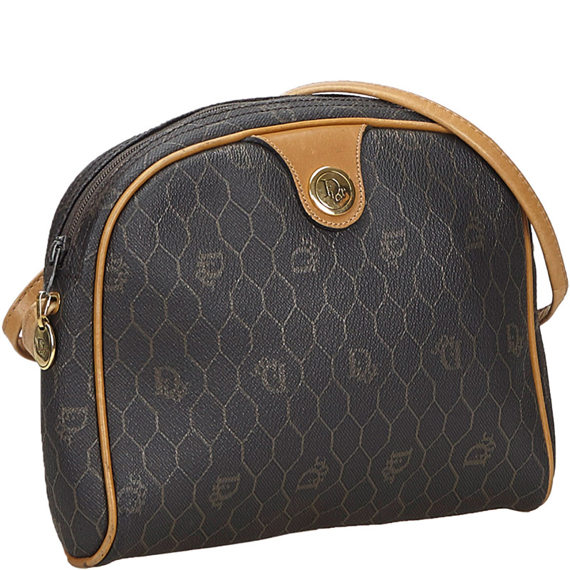 Dior Brown Honeycomb Coated Canvas Crossbody Bag