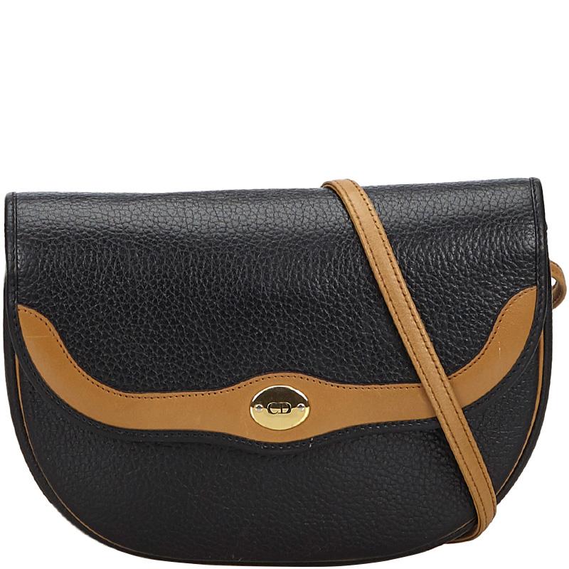 Dior Black/Brown Leather Crossbody Bag
