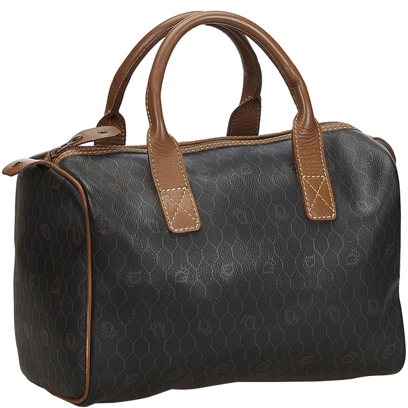 Dior Black/Brown Honeycomb Coated Canvas Boston Bag