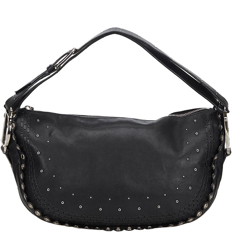 Dior Black Calfskin Leather Peace and Love Shoulder Bag
