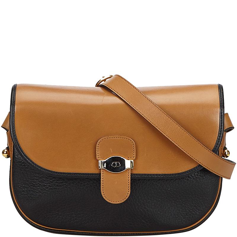 Dior Brown/Black Leather Shoulder Bag