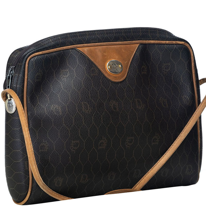 Dior Black/Brown Honeycomb Coated Canvas Crossbody Bag