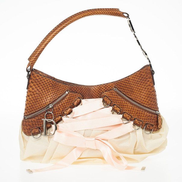 feaba117 Christian Dior Cognac Pink Python Leather Corset Ballet Bag
