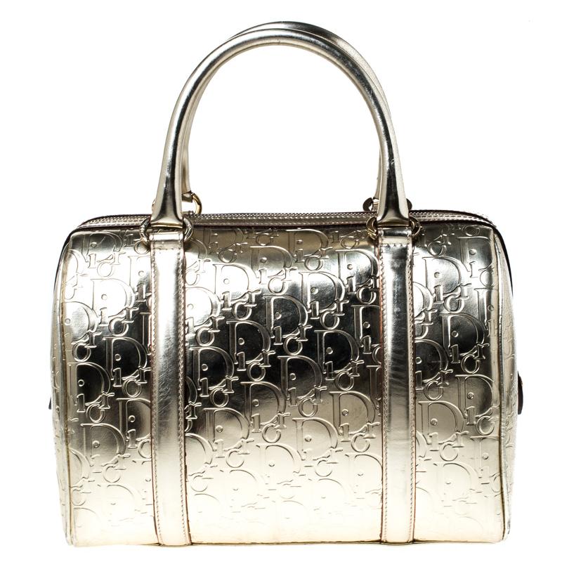 Christian Dior Metallic Gold Oblique Monogram Leather Boston Bag