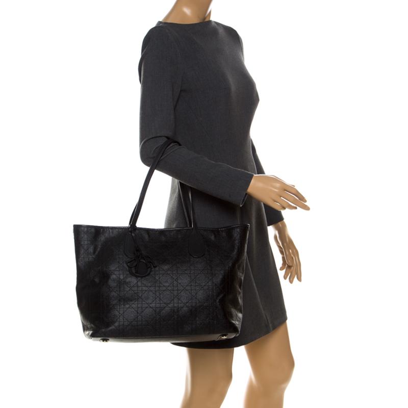 Dior Black Cannage Coated Canvas Medium New Panarea Shopper Tote