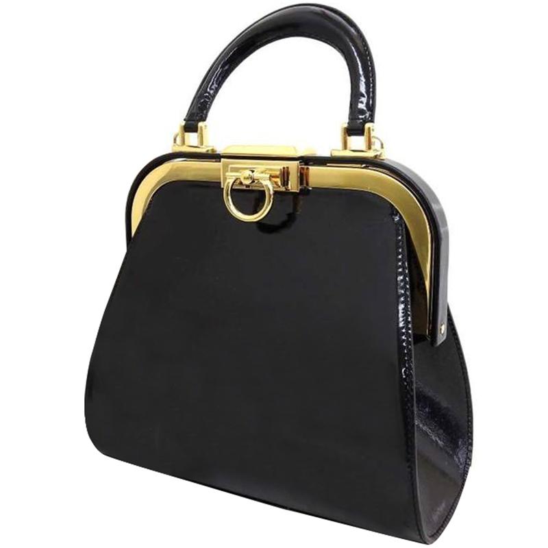 Dior Black Patent Leather Top Handle Bag