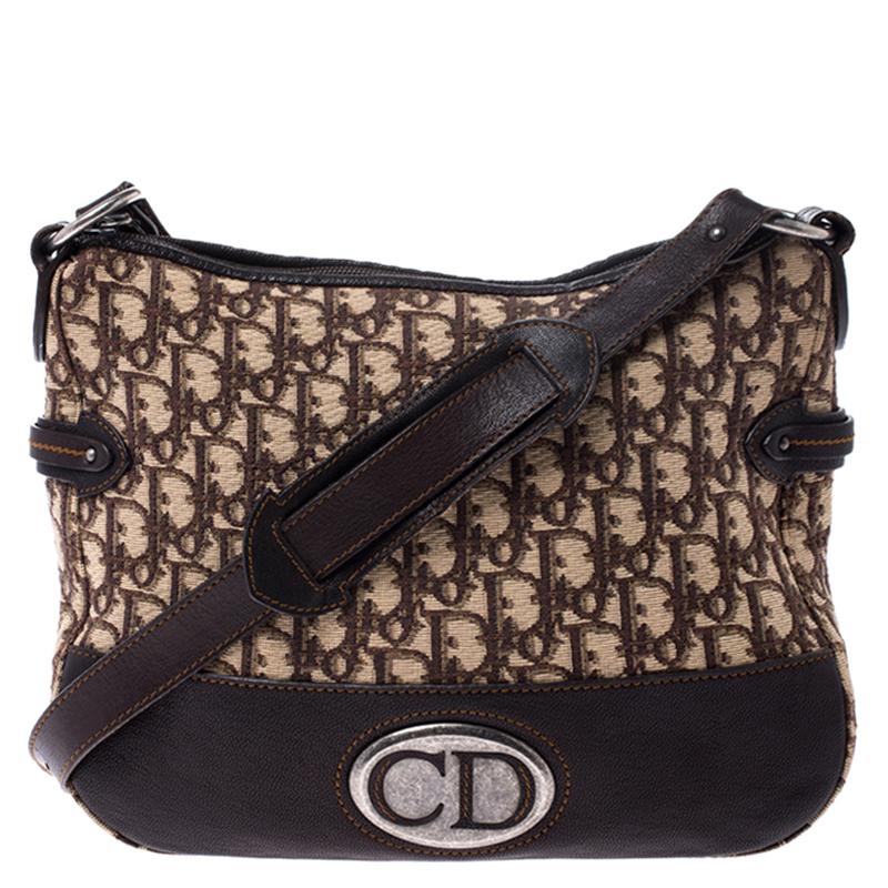 Dior Beige/Brown Diorissimo Oblique Canvas and Leather Shoulder Bag