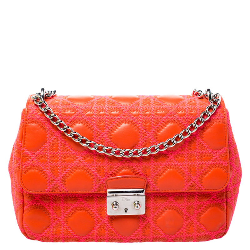 Dior Red/Pink Cannage Leather Miss Dior Promenade Shoulder Bag