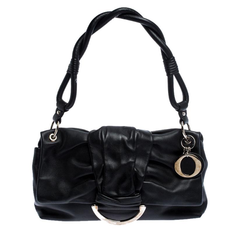 Dior Black Leather Bow Flap Shoulder Bag