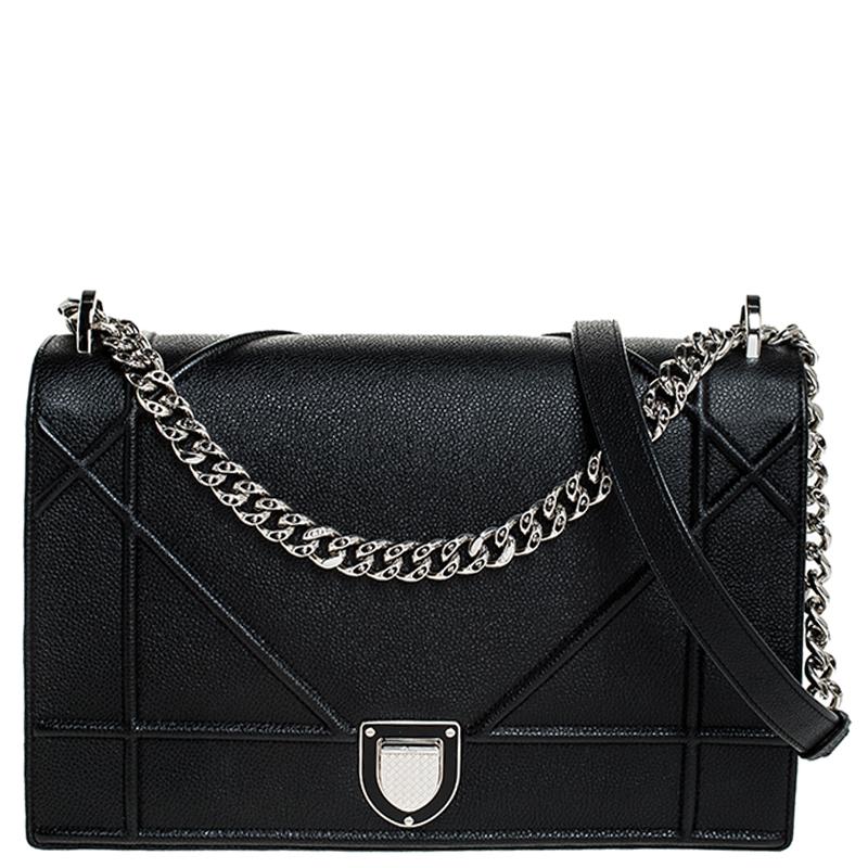 Dior Black Leather Large Diorama Flap Shoulder Bag