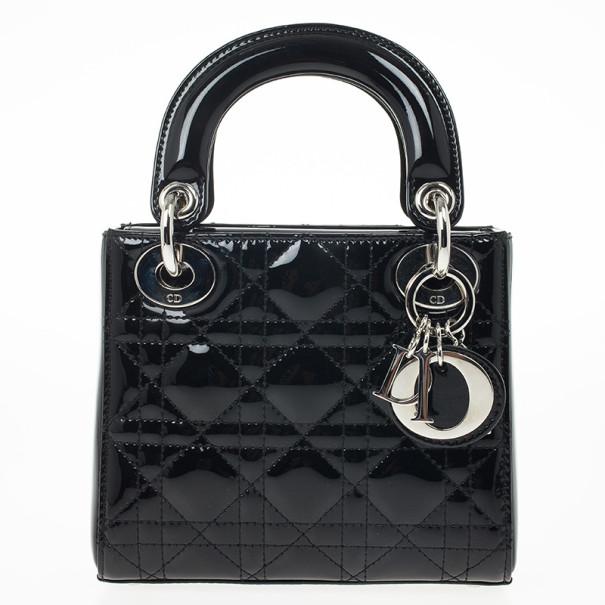 628934b052a4 Buy Christian Dior Black Patent Mini Lady Dior Bag 25379 at best ...