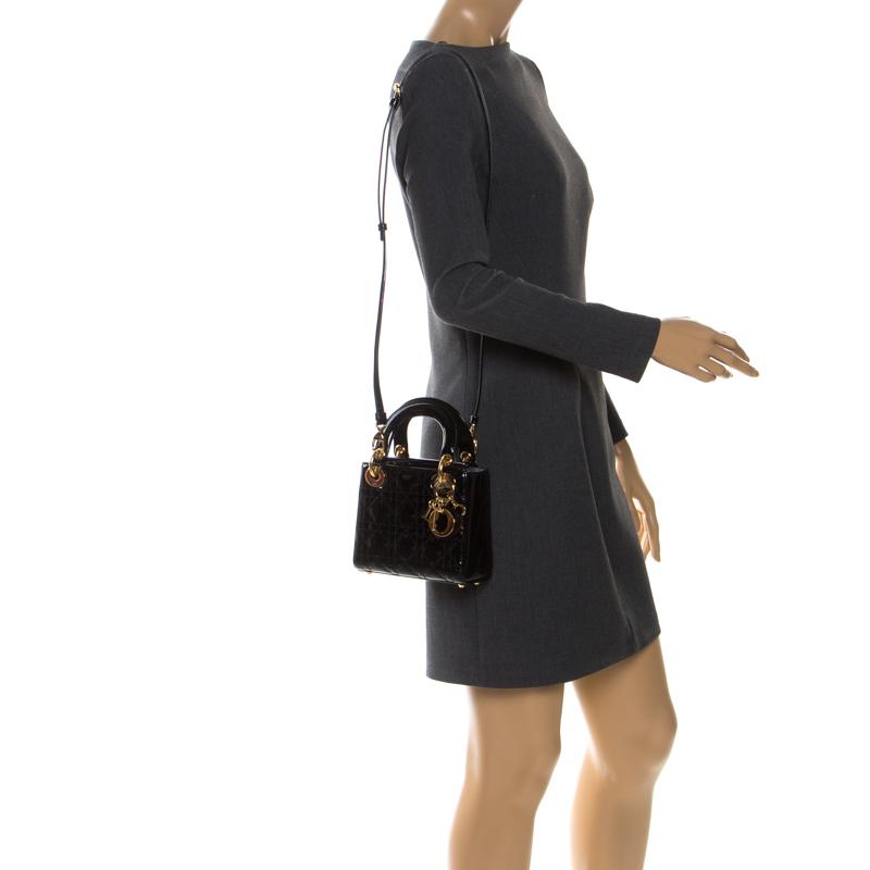 Dior Black Patent Leather Mini Lady Dior Tote