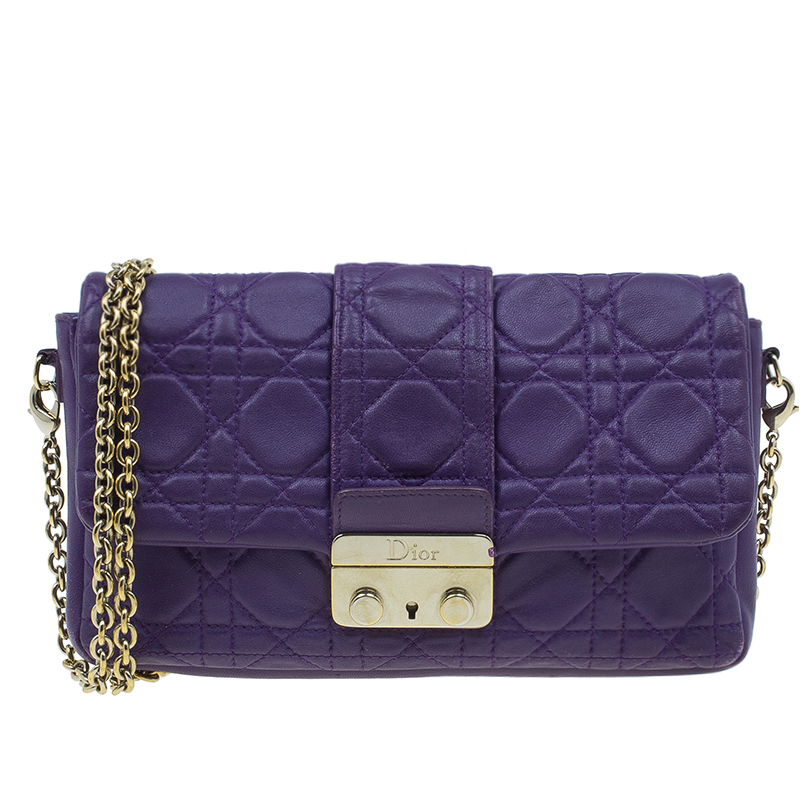 8865c79eeb6 Buy Dior Purple Leather New Lock Chain Clutch Bag 2637 at best price ...