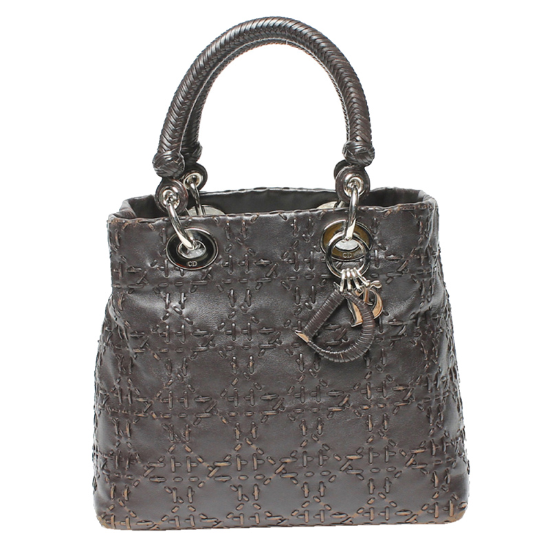 Dior Brown/Black Canage Leather Top Handle Bag