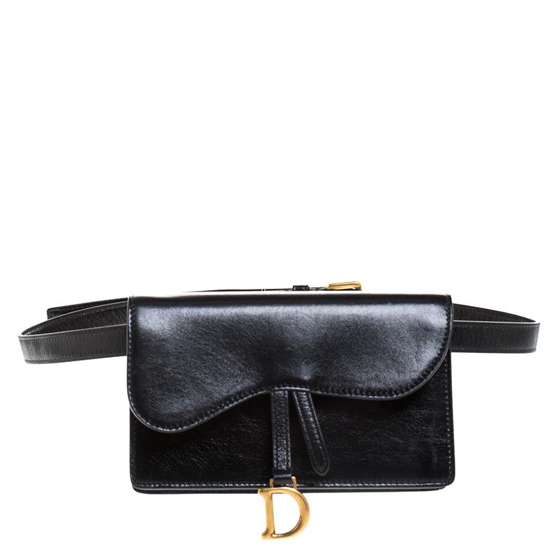 Dior Black Leather Saddle Belt Bag
