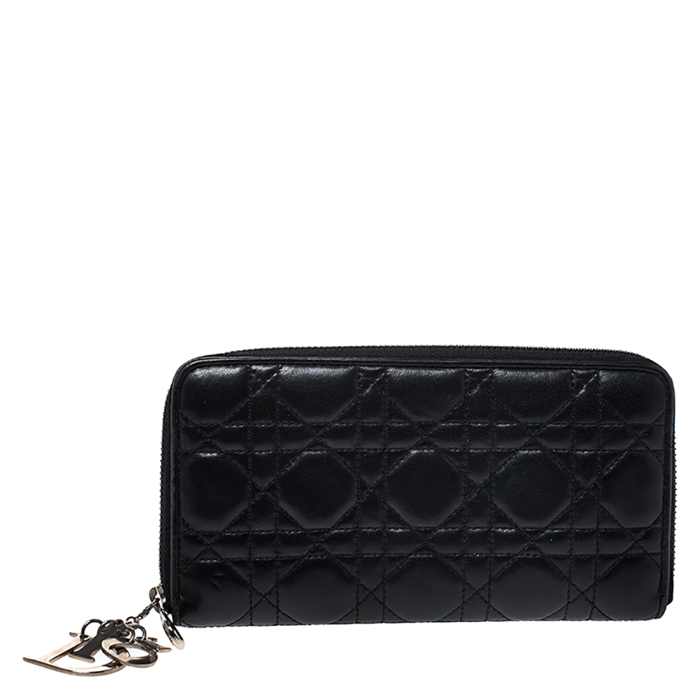 Dior Black Cannage Leather Lady Dior Zip Around Wallet