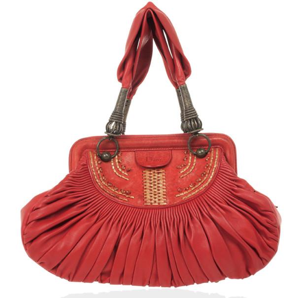 45ef735805f2 ... Christian Dior Plisse Large Pleated Red Lambskin Leather Handbag.  nextprev. prevnext