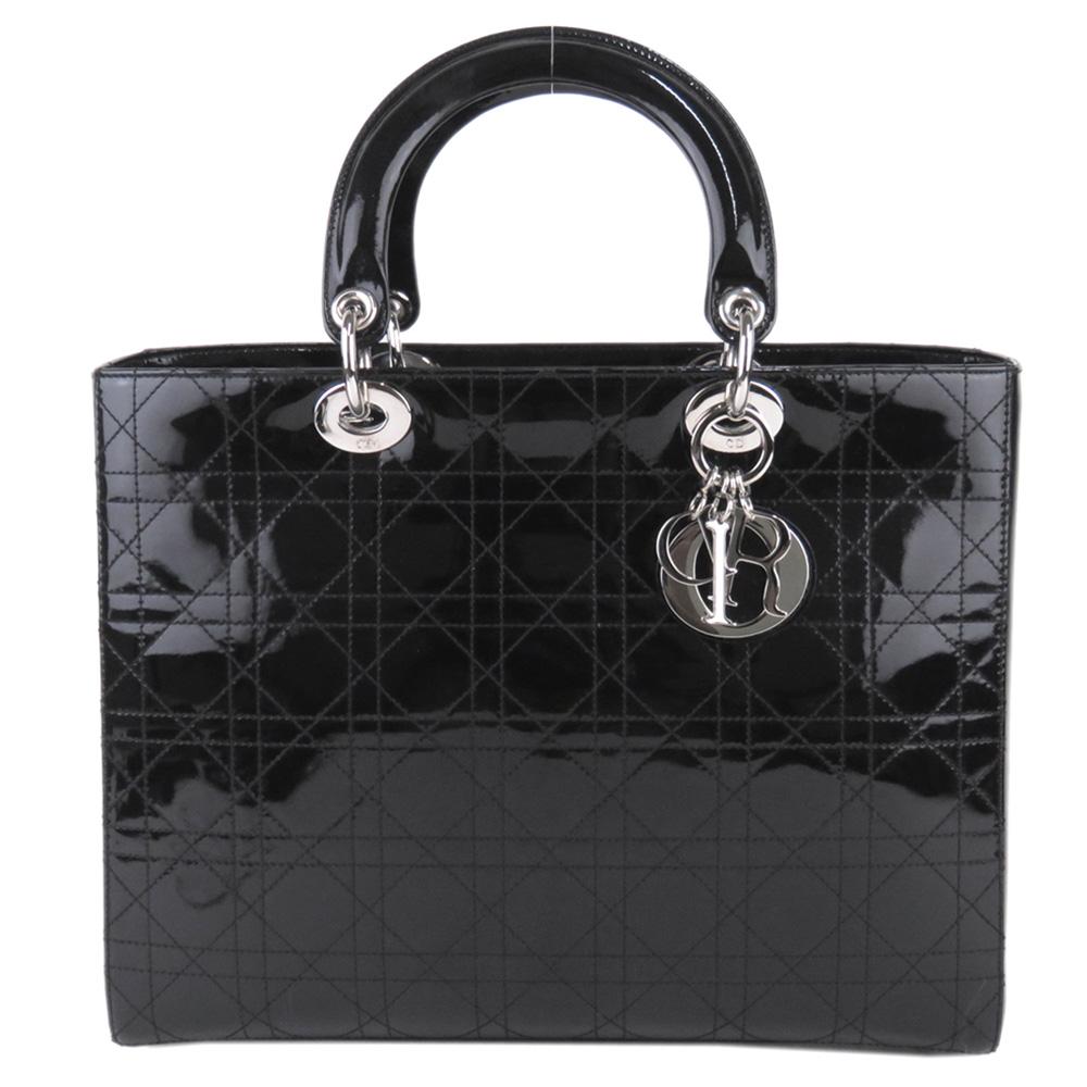 Dior Black Patent Leather Cannage Lady Dior Satchel Bag