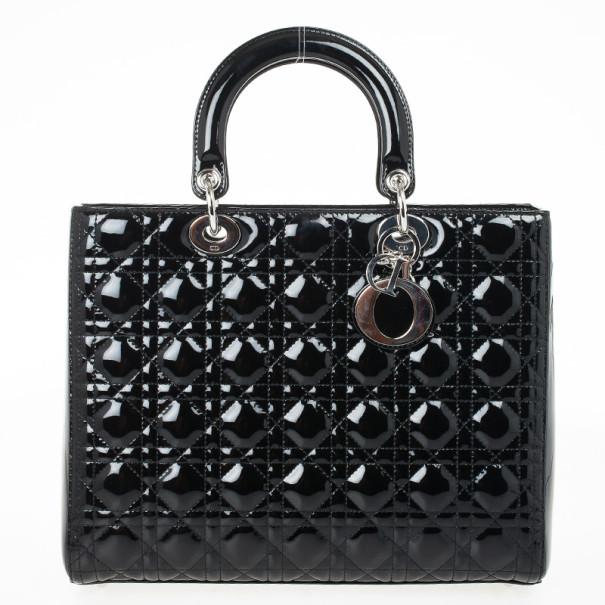 a42266987b ... Christian Dior Black Patent Leather Lady Dior Large Bag. nextprev.  prevnext