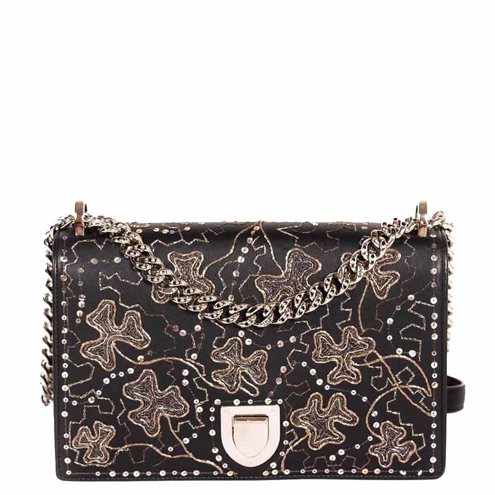 Dior Black Leather Embellished Medium Diorama Shoulder Bag