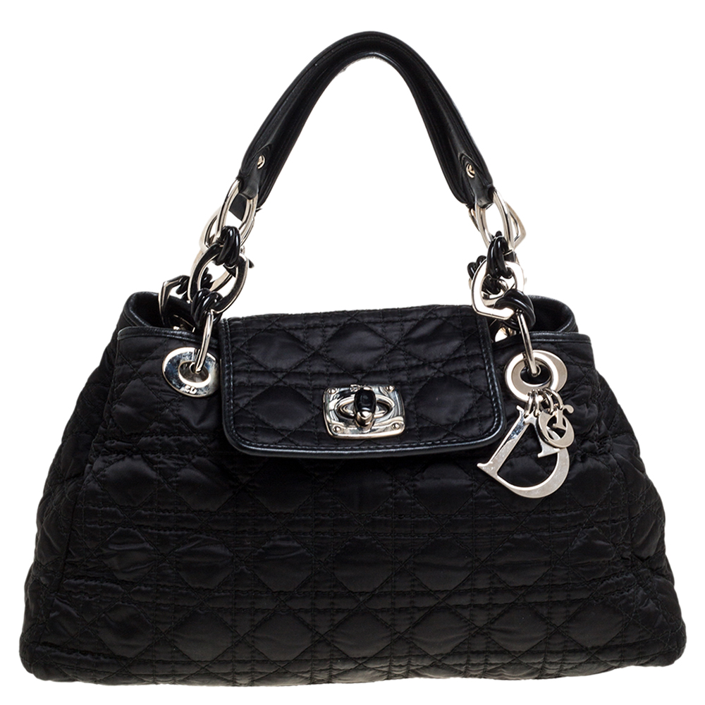Pre-owned Dior Black Cannage Nylon And Leather Charming Lock Satchel