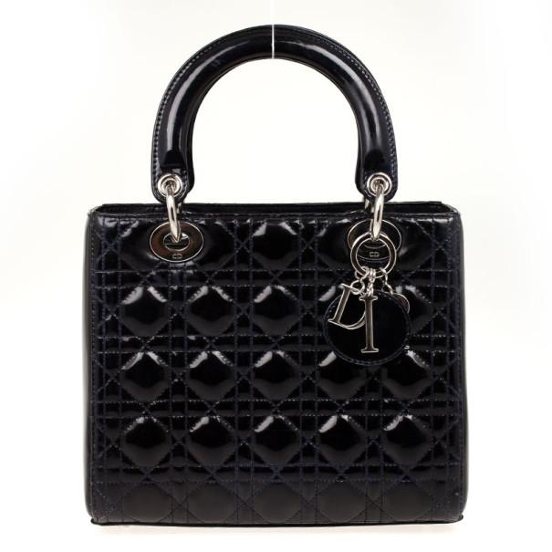 a38035668578 ... Christian Dior Navy Blue Lady Dior Medium Patent Bag. nextprev. prevnext