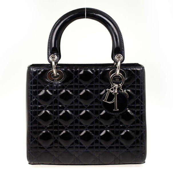 Buy Christian Dior Navy Blue Lady Dior Medium Patent Bag 32011 at ... be0a561bac619