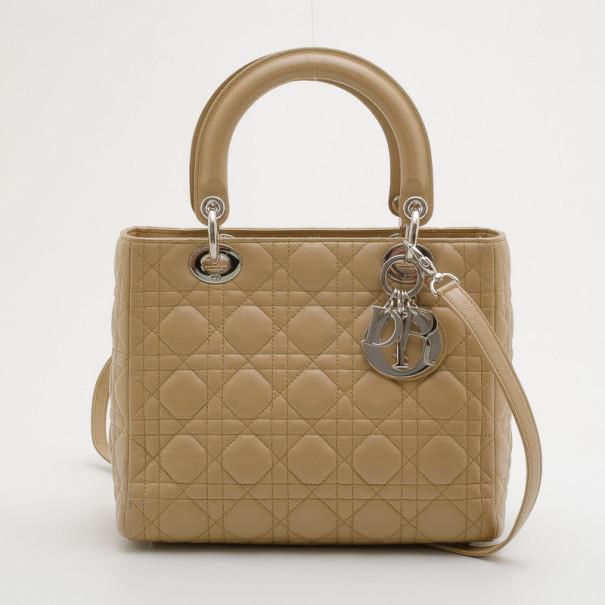 645ab687a44 Buy Christian Dior Beige Leather Medium Lady Dior Bag 32295 at best ...