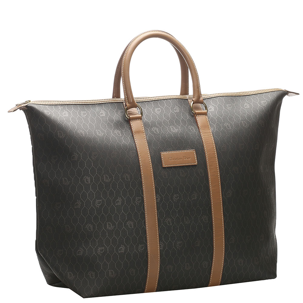 Dior Black/Brown Honeycomb Coated Canvas Travel Bag  - buy with discount