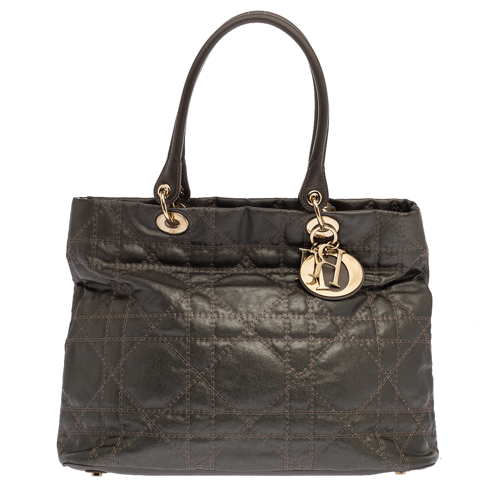 Pre-owned Dior Metallic Cannage Quilted Leather Soft Tote