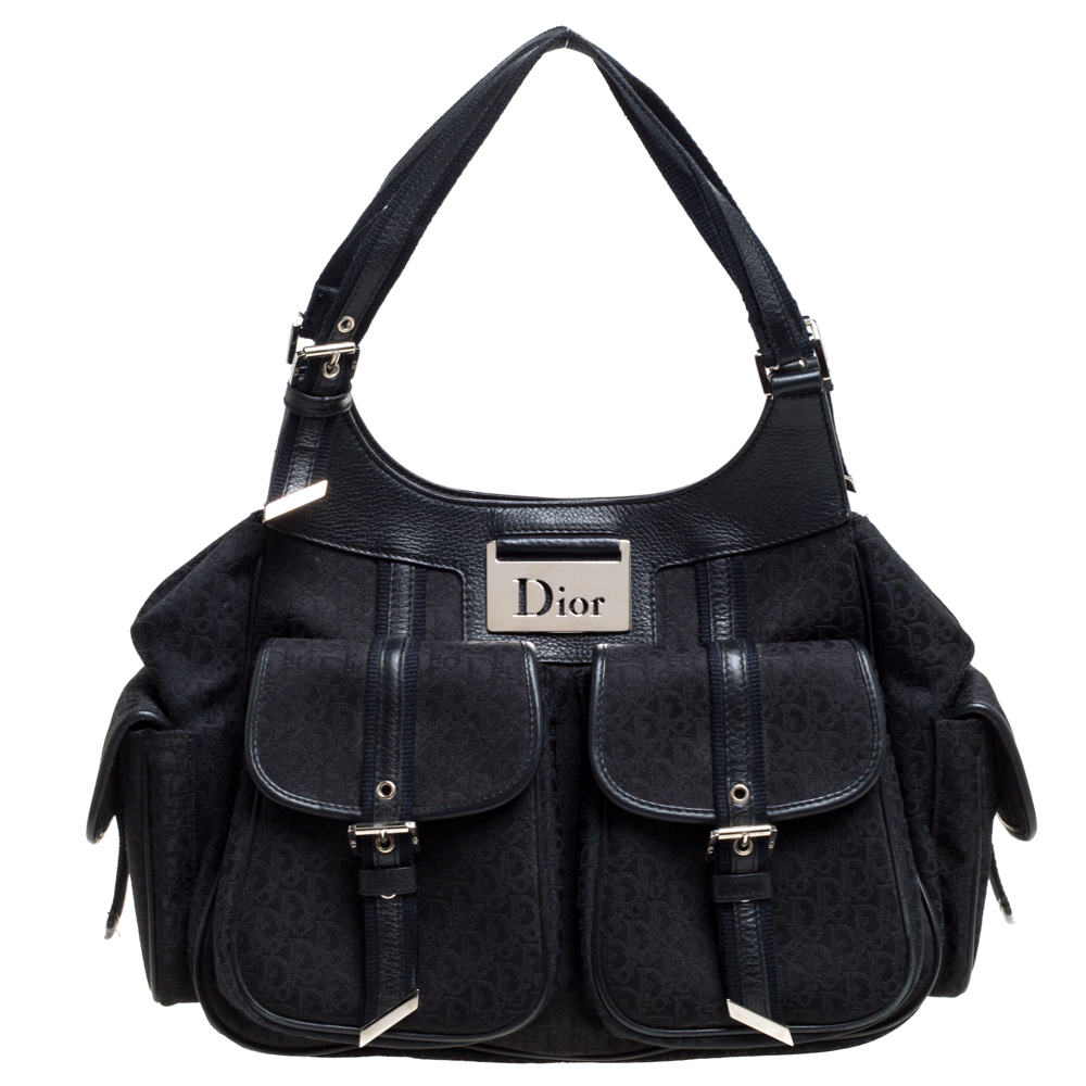 Pre-owned Dior Black Oblique Canvas And Leather Street Chic Tote