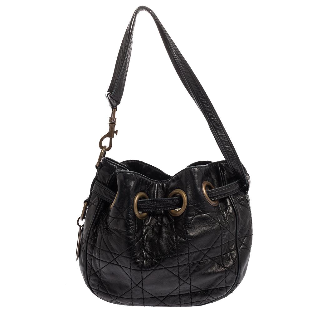 Pre-owned Dior Drawstring Bag In Black