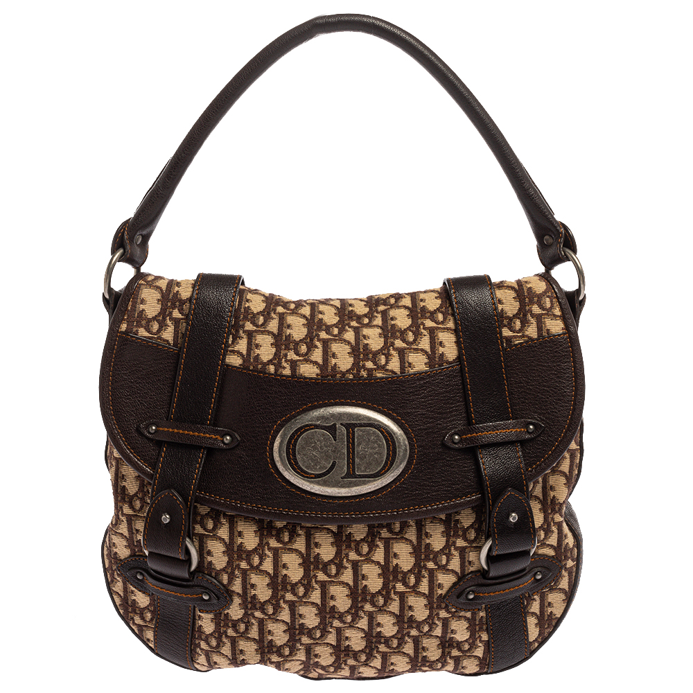 Pre-owned Dior Brown Oblique Canvas And Leather Cd Logo Flap Hobo