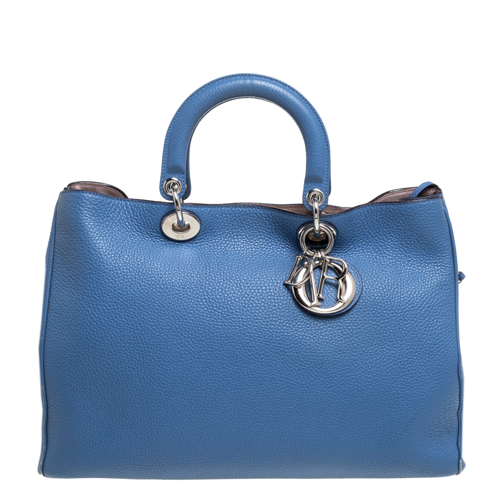 Pre-owned Dior Issimo Shopper Tote In Blue