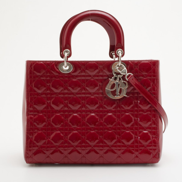 96dbed5df1 Buy Christian Dior Red Patent Medium Lady Dior Bag 34991 at best ...