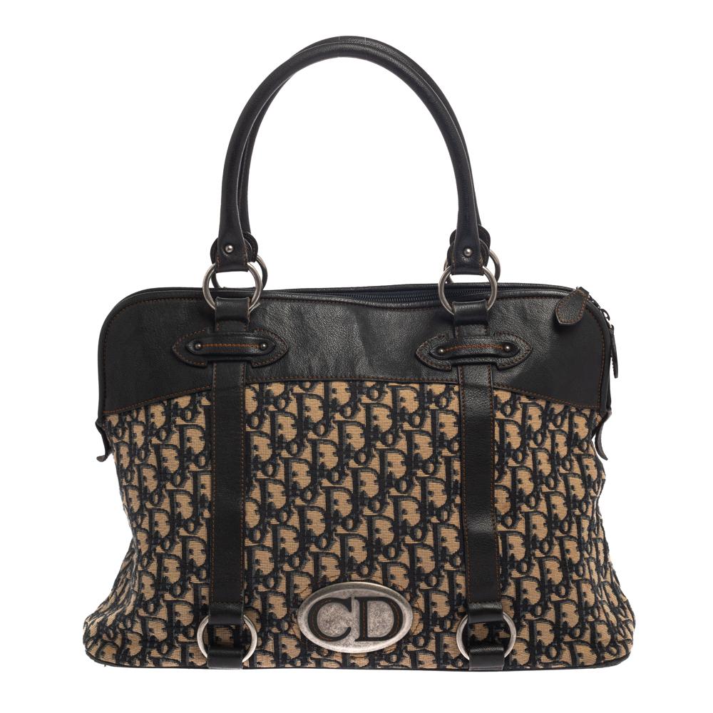 Pre-owned Dior Black/navy Blue Oblique Canvas And Leather Vintage Trotter Traveller Satchel