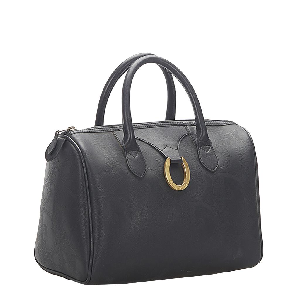 Dior Black Leather Canvas Oblique Boston Bag