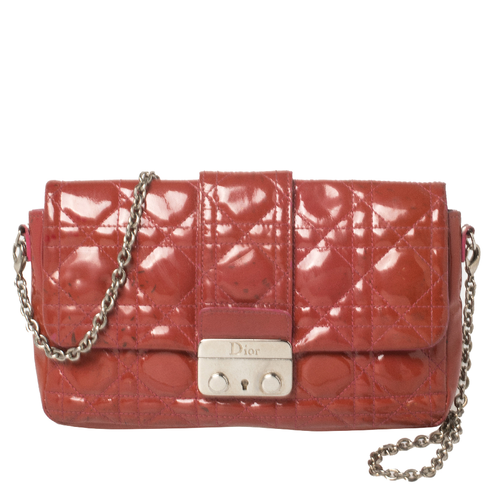 Pre-owned Dior Magenta Cannage Patent Leather New Lock Chain Clutch In Pink