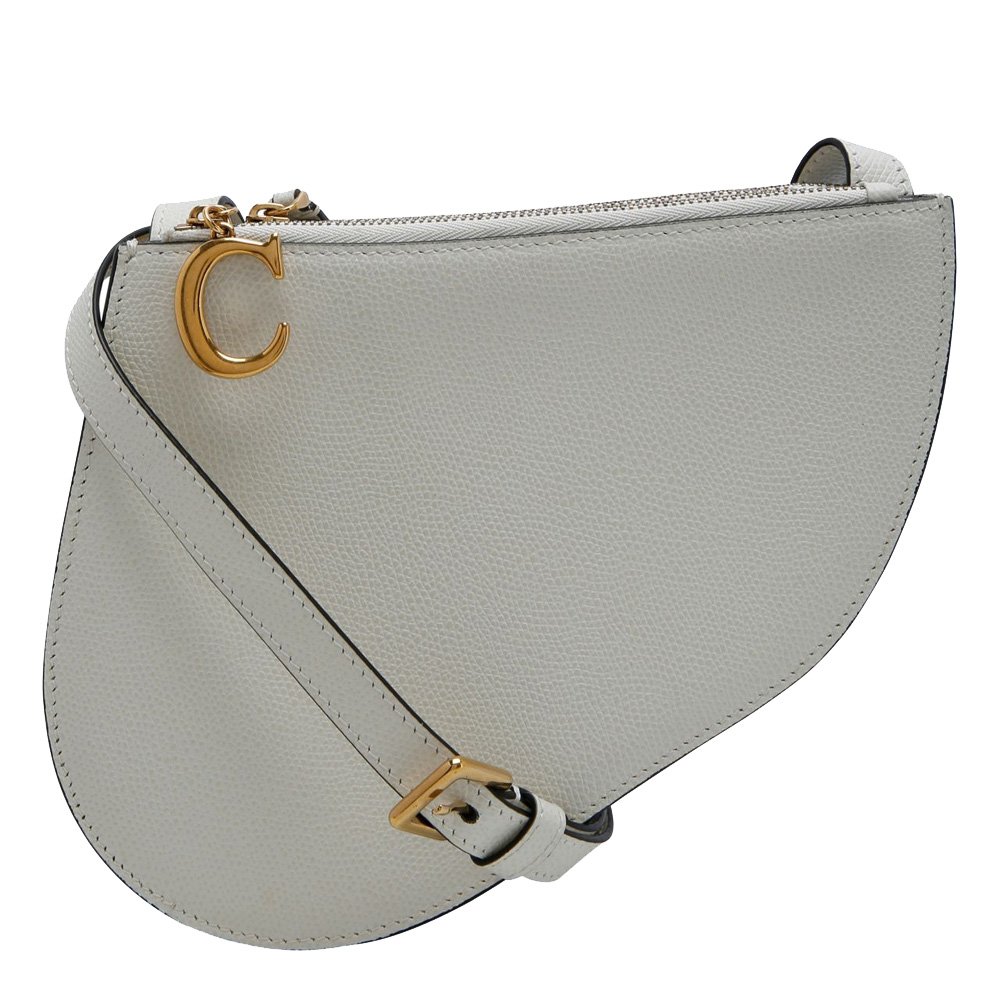 Pre-owned Dior Ivory Leather Saddle Triple Zip Crossbody Bag In White