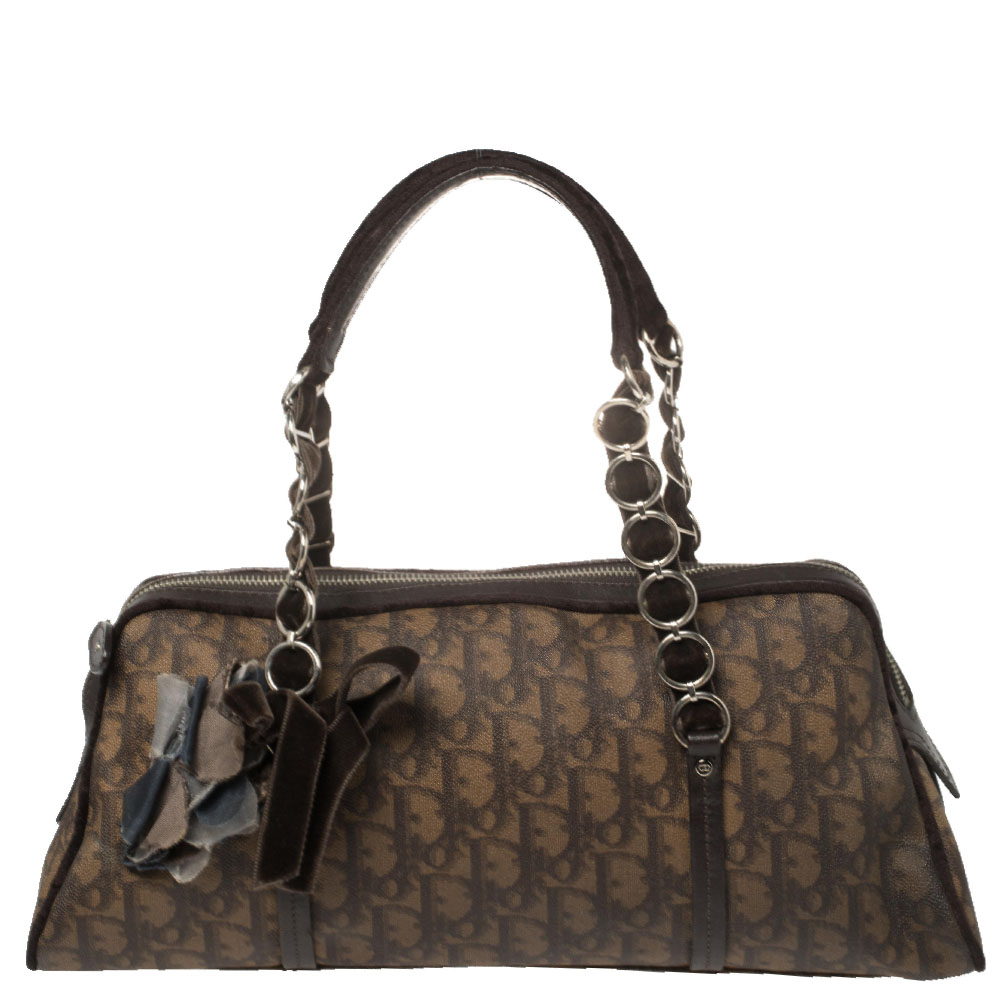 Pre-owned Dior Issimo Coated Canvas, Leather, And Velvet Trotter Romantique Satchel In Brown