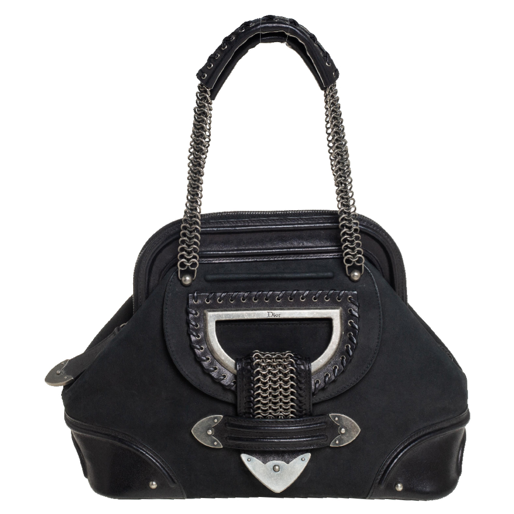 Pre-owned Dior Black Nubuck And Leather Jeanne Frame Satchel