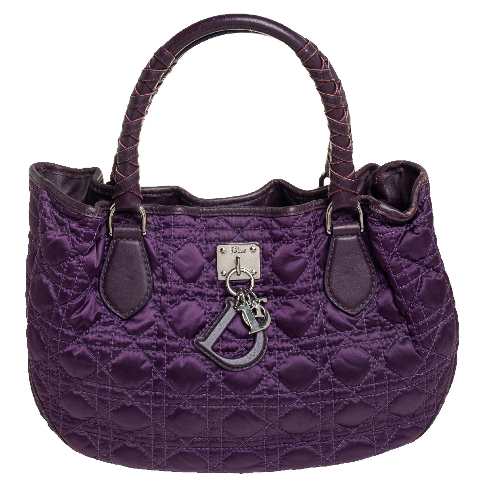 Pre-owned Dior Purple Cannage Quilted Satin And Leather Charming Hobo
